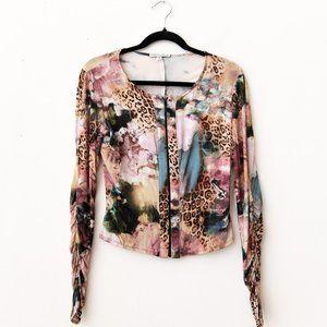 Vintage Alberto Makali abstract cheetah shirt S